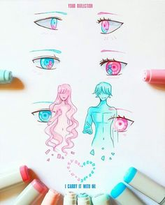 +Your Reflection+ by larienne on DeviantArt Du grand Art ! Cute Drawings, Drawing Sketches, Drawing Tips, Drawn Art, Anime Eyes, Eye Art, Copics, Art Tutorials, Art Reference