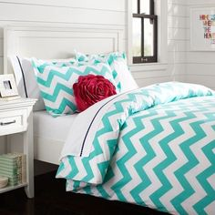 Chevron Duvet Cover + Sham, Pool this my chevron bedding Chevron Bedding, Chevron Pillow, Chevron Walls, Coral Pillows, Blue Bedding, Accent Pillows, House Of Turquoise, Bedroom Decor, Bedrooms