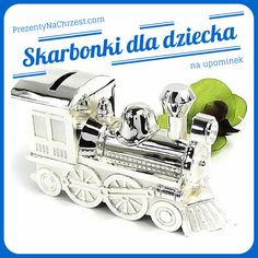 Skarbonka w kształcie lokomotywy - super upominek dla każdego chłopca. Duża, śliczna polerowana srebrem skarbonka, będzie również świetną ozdobą dziecięcego pokoiku.