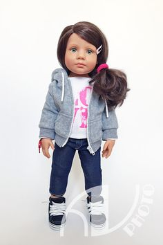 My green-eyed beauty. Gotz Dolls, Knit Shoes, Miniture Things, Doll Accessories, Knit Dress, American Girl, Hipster, Denim, Happy