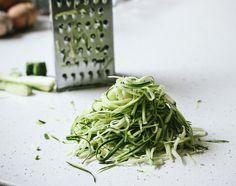 Lazy Girl's Zucchini Spaghetti [no fancy tools required!] with Peas, Crème Fraîche and Pesto