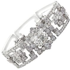 Art Deco Diamond & Rock Crystal Bracelet at 1stdibs