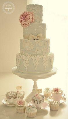 Peony & lace wedding cake