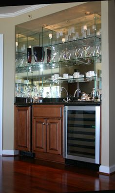 Turn Closet into custom Mirror and Glass Bar ~