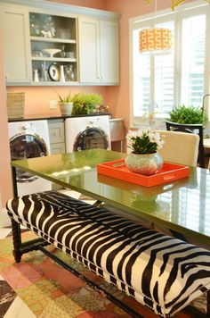 Is it odd that my dream laundry room woudl have a table like this? HELLO Place to sew.