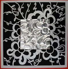 Using aluminum foil to create relief work, extending artwork onto outer frame