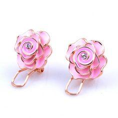 Pair of Fashionable Rhinestone Floral Earrings For Women #women, #men, #hats, #watches, #belts, #fashion