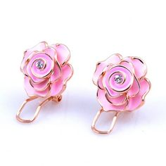 Pair of Fashionable Rhinestone Floral Earrings For Women #women, #men, #hats, #watches, #belts, #fashion