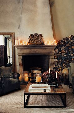 A cozy country retreat from Ralph Lauren Home. Artfully arranged firewood is at the ready, in a living room inspired by a warm glow.