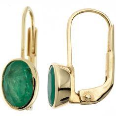 Boutons 333 Gold Gelbgold 2 Smaragde Ohrringe Ohrhänger A36372