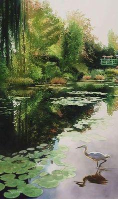 """""""Stalking Monet"""" watercolor by Paul Jackson Art Aquarelle, Watercolor Landscape, Watercolour Painting, Landscape Art, Landscape Paintings, Watercolor Artists, Watercolours, Paul Jackson, Illustration"""