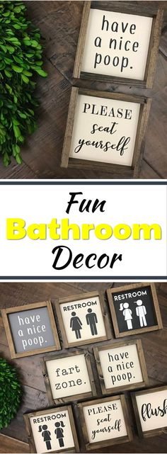 Check out these silly bathroom pictures. Mini Collection - Bathroom Sign | Wood Sign | Kids Bathroom | Bathroom Wall Decor | Restroom Bathroom Decor | Farmhouse Bathroom | Fixer Upper #bathroomdecor AD #bathroomideas