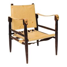 Leather Safari Chair with Pivoting Back - $800 Est. Retail - $500 on Chairish.com