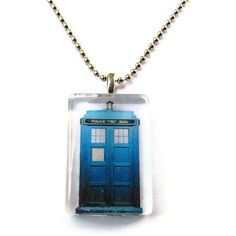 Tardis Necklace, Doctor Who Glass Pendant Necklace, Geeky Jewelry. $14.00 USD, via Etsy.