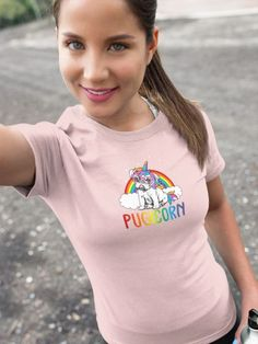 """Love this """"Pugicorn"""" funny tshirt? We do too :) Its the perfect cute gift idea for moms, best friends, co-workers, teachers, women or even yourself... #funnyshirt #giftideas #funnytshirt #giftideasforfriends #KatieMcGrathDesigns Funny Shirts, Tee Shirts, Tees, Christmas Gifts For Wife, Heather Black, Cute Gifts, Stocking Stuffers, Stockings, Gift Ideas"""