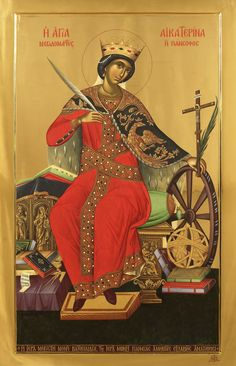 St Catherine of Alexandria - Great Martyr / Αγία Αικατερίνη Byzantine Icons, Byzantine Art, Religious Icons, Religious Art, St Catherine Of Alexandria, Saint Katherine, Greek Icons, Church Icon, Catherine The Great
