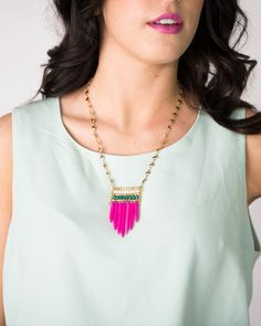 Beaded and spike necklace