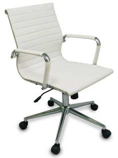 The Gianni Modern Ribbed Low Back Chair w Tilt and Chrome Base White w Black Rim Wheels -- More info could be found at the image url.Note:It is affiliate link to Amazon.