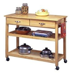 "Wood Kitchen Cart, solid wood  Good reviews, good storage  New top/paint to make more modern?  36Hx44Wx20.5D""  Target.com, $219.99"