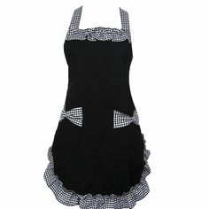 MY LIFE Cute Lady's Kitchen Fashion Flirty Women's Aprons with Pockets Black Patterns for Girls Gift-Black Apron with Grey & White Bow