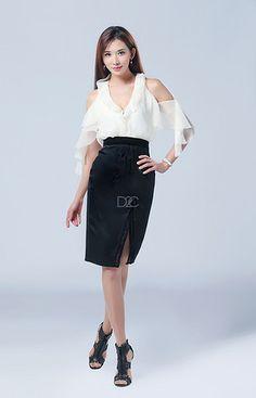 我的新衣 职场主题 GRACE CHEN 《律政俏佳人》系列  林志玲同款 黑白配V领雪纺花瓣领包臀连衣裙
