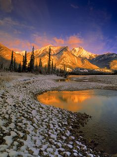 The Athabasca River at Moberly Flats, Jasper National Park, Alberta, Canada