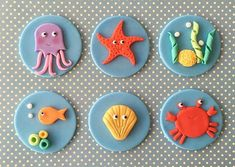 Under The Sea Fondant Cupcake Toppers by HoneyTheCake on Etsy