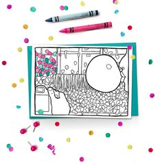 "Bubble Gum Wall. Part of the Seattle Coloring Card series. This one depicts the infamous ""gum wall"" in Post Alley near Pike Place Market in Seattle, Washington. A gross, but memorable tourist attraction. Some people even take their wedding parties down the alley for colorful photos!  Give more than just a card, give a colorful experience! Customize this card with someone special in mind, or let the fun of coloring be part of the gift.  Brighter Sides Design coloring cards feature original…"