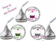 108 Personalized Zebra CUPCAKE SWEET 16 Birthday Party FAVORS Candy Kiss Labels Stickers on Etsy, $8.00