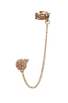 $15 -  TopShop - Peach pave ball earcuff earring, total length 9cm by Freedom at Topshop. Metal.