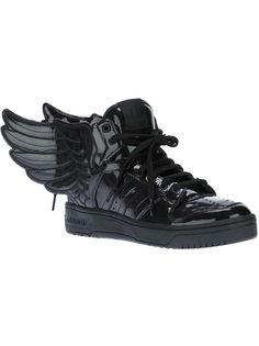 Shoes to fly away on - Adidas Originals By Jeremy Scott Js Wings Sneaker Black Lace Up Shoes, Black High Top Shoes, All Black Sneakers, High Top Sneakers, Leather Sneakers, Design Adidas, Adidas Originals, Moda Sneakers, Sneakers Adidas