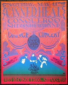 Classic Poster - Canned Heat at Vulcan Gas Company 5/10-11/68 by Gilbert Shelton