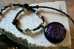 Black Purple Fused Glass Beaded Necklace - by derryrush designs