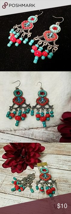 "Turquoise & Coral Beaded BOHO Earrings 2.5"" Drop & just over 1"" wide metal alloy drop earrings w/turquoise & coral beads & red Crystal accent. Fishhook backs w/rubber stoppers. Item#E1118 25% OFF BUNDLES OF 3 OR MORE ITEMS! REASONABLE OFFERS ACCEPTED!! BUY WITH CONFIDENCE~SUGGESTED USER, TOP 10% SELLER, FAST SHIPPING, 5 STAR RATING, & FREE GIFT w/MOST ORDERS! Jesi's Fashionz  Jewelry Earrings"