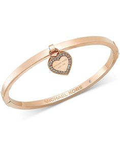 Michael Kors Gold-Tone Bangle with MK Charm - Michael Kors - Jewelry Watches - Macys