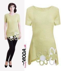 Originálna dámska zelená tunika s aplikáciou kvetov - trendymoda.sk Tunic Tops, Women, Fashion, Moda, Fashion Styles, Fashion Illustrations, Woman