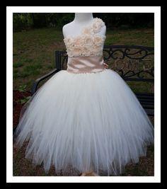 Flower girl dress Ivory tutu dress, chiffton roses, baby tutu dress, toddler tutu dress,newborn to 9years old