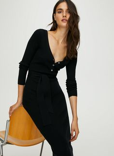 This is a long, fitted henley dress — wear the buttons undone for a sexy, loungey look. The warm, lightweight merino-wool blend has stretchfor comfort and a flattering ribbed texture. Sweater Dress Outfit, Jacket Dress, Outing Outfit, Hooded Dress, Latest Dress, Spring Dresses, Sexy, Fashion Dresses, Bodycon Dress