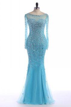 Prom Dress, blue prom dress,long Prom Dress,beaded prom