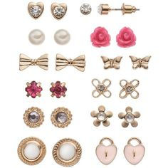 SO Flower, Butterfly, Heart Lock & Bow Stud Earring Set (Pink) featuring polyvore, fashion, jewelry, earrings, pink, heart stud earrings, pearl stud earrings, flower earrings, butterfly stud earrings and pink bow earrings