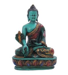 DharmaObjects Healing Medicine Buddha Statue Cold Cast Resin Hand painted Large (GREEN)