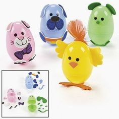 "Animal Easter Egg Decorating Craft Kit ~ Makes 12 Eggs ~ Self-adhesive Foam Stickers ~ Includes 2.5"" Plastic Eggs ~ New"