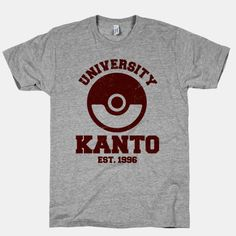 Pokemon university shirt. Get your game on! #pokemon
