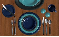 Check out my Colorama by Fiesta® customized table setting! Calm and cool with Cobalt, Turquoise, Slate