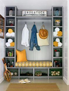 Transform a cluttered mudroom or entryway into a calm, organized space. These ideas for benches, storage, lockers and other designs offer inspiration for a functional place to put shoes, hats, coats, towels, backpacks and more.