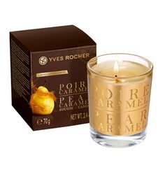 Pear Caramel Scented Candle - Create a heartwarming atmosphere with the sweet scent of this Pear and Caramel candle! Offer a Pear Caramel scented candle as a gift to create an inviting, indulgent atmosphere.