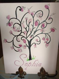 Baby Shower Guest Book alternative fingerprint stamp tree on Etsy, $25.00
