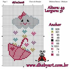 This Pin was discovered by Ayb Cute Cross Stitch, Beaded Cross Stitch, Cross Stitch Alphabet, Cross Stitch Charts, Cross Stitch Embroidery, Cross Stitch Patterns, Anchor Pattern, Hand Embroidery Designs, Plastic Canvas Patterns