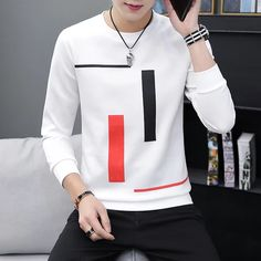 Spring and Autumn New men's printed long-sleeved T-shirt teen round neck bottom top fashion casual men's clothing Man Dress Design, Cool T Shirts, Casual Shirts, Stylish Hoodies, Versace T Shirt, Warm Outfits, Mens Sweatshirts, Long Sleeve Shirts, Men Casual