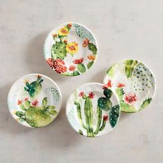 Desert Cactus Salad Plates, Set Of 4